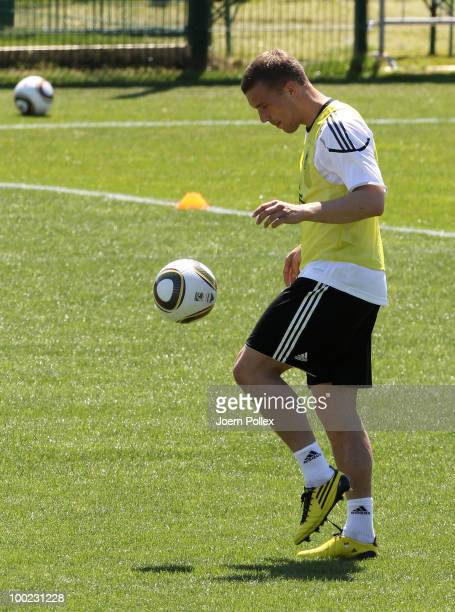 Lukas Podolski of Germany is seen in action during a training session at Sportzone Rungg on May 22, 2010 in Appiano sulla Strada del Vino, Italy.