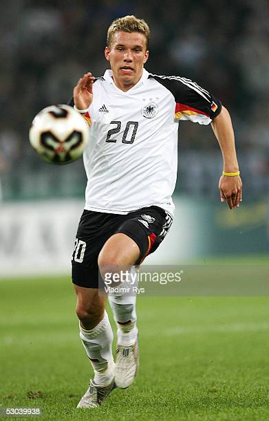 Lukas Podolski of Germany is seen in action during the friendly match between Germany and Russia on June 8 2005 in Monchengladbach Germany