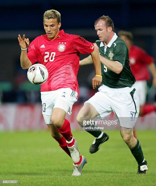 Lukas Podolski of Germany on his way to score the fourth goal during the friendly match between Northern Ireland and Germany on June 4 2005 in...
