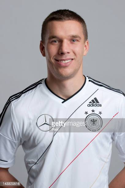 Lukas Podolski of Germany poses during a national team photocall on November 14 2011 in Hamburg Germany