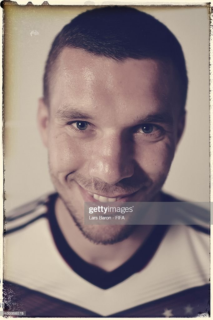 Lukas Podolski of Germany poses during the official FIFA World Cup 2014 portrait session on June 8, 2014 in Salvador, Brazil.