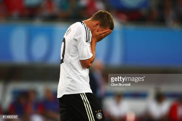 Lukas Podolski of Germany reacts after scoring the opening goal during the UEFA EURO 2008 Group B match between Germany and Poland at Worthersee...