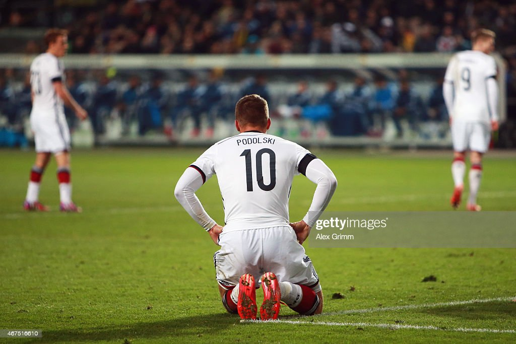 Lukas Podolski of Germany reacts during the International Friendly match between Germany and Australia at Fritz-Walter-Stadion on March 25, 2015 in Kaiserslautern, Germany.