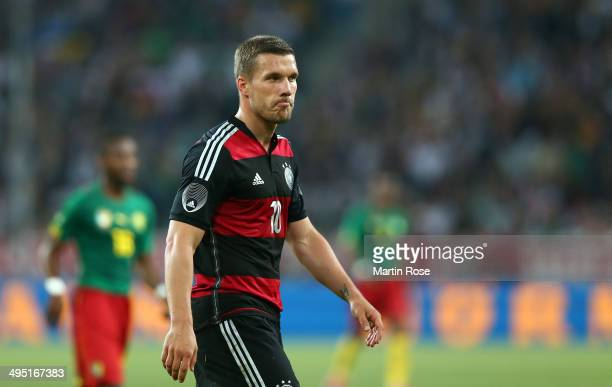 Lukas Podolski of Germany reacts during the International Friendly Match between Germany and Cameroon at Borussia Park Stadium on June 1 2014 in...