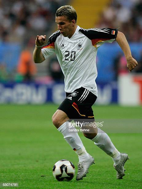 Lukas Podolski of Germany runs with a ball during the FIFA Confederations Cup 2005 match between Germany and Australia at the Waldstadion Stadium on...