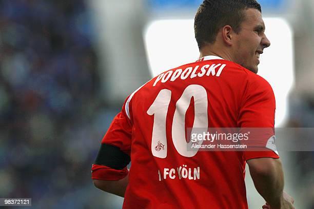 Lukas Podolski of Koeln is pictured during the Bundesliga match between 1899 Hoffenheim and 1 FC Koeln at RheinNeckar Arena on April 10 2010 in...