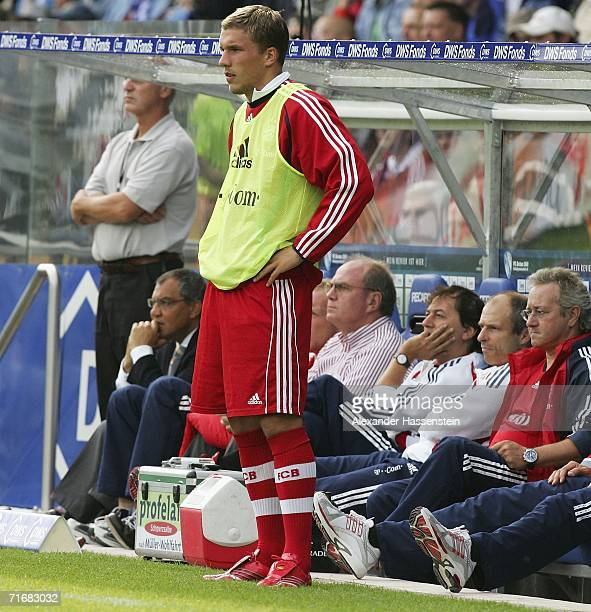 Lukas Podolski of Munich looks on during the Bundesliga match between VFL Bochum and Bayern Munich at the Ruhr Stadium on August 20 2006 in Bochum...