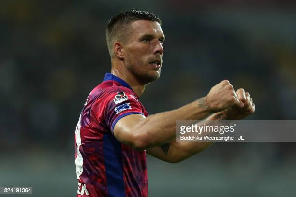 Lukas Podolski of Vissel Kobe celebrates scoring his side's second goal during the JLeague J1 match between Vissel Kobe and Omiya Ardija at Noevir...