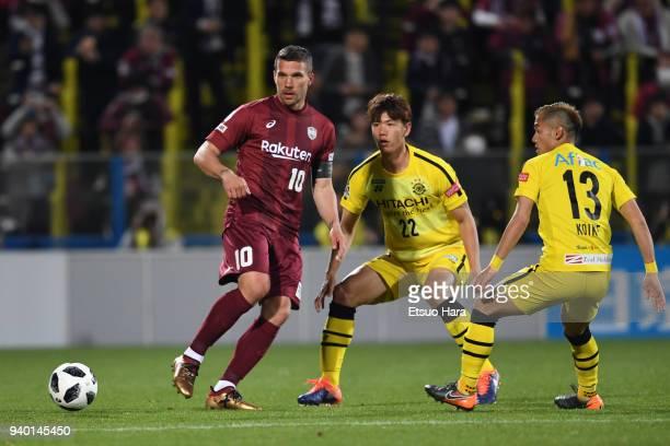 Lukas Podolski of Vissel Kobe in action during the JLeague J1 match between Kashiwa Reysol and Vissel Kobe at Sankyo Frontier Kashiwa Stadium on...