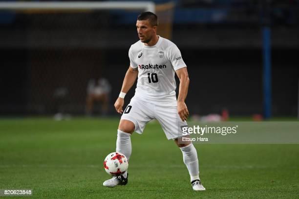 Lukas Podolski of Vissel Kobe in action during the preseason friendly match between Vegalta Sendai and Vissel Kobe at Yurtec Stadium Sendai on July...