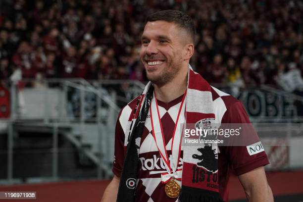 Lukas Podolski of Vissel Kobe looks on after the 99th Emperor's Cup final between Vissel Kobe and Kashima Antlers at the National Stadium on January...