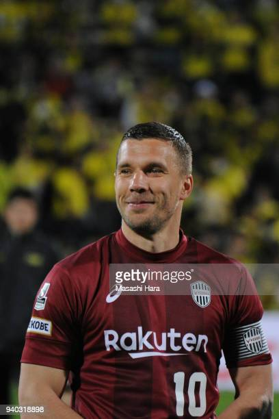 Lukas Podolski of Vissel Kobe looks on prior to the JLeague J1 match between Kashiwa Reysol and Vissel Kobe at Sankyo Frontier Kashiwa Stadium on...