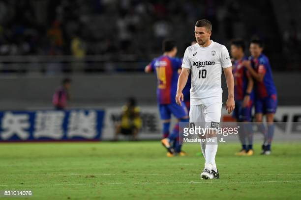 Lukas Podolski of Vissel Kobe shows dejection after his side's 01 defeat in the JLeague J1 match between FC Tokyo and Vissel Kobe at Ajinomoto...