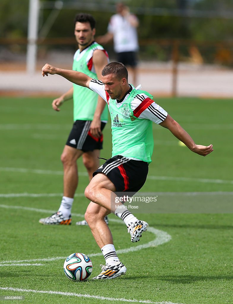 Lukas Podolski runs with the ball during the German National team training session at Campo Bahia on June 9, 2014 in Santo Andre, Brazil.