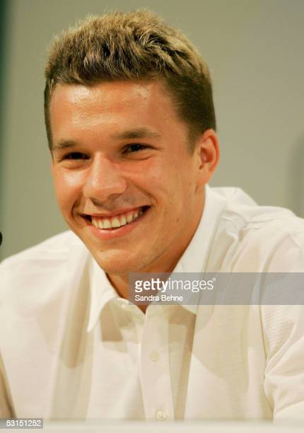 Lukas Podolski smiles during the German National Team press conference for the Confederations Cup 2005 at the Adidas World of Sports on June 26 2005...