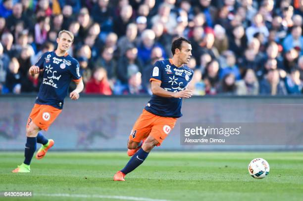 Lukas Pokorny and Vitorino Hilton of Montpellier during the French Ligue 1 match between Montpellier and Saint Etienne at Stade de la Mosson on...