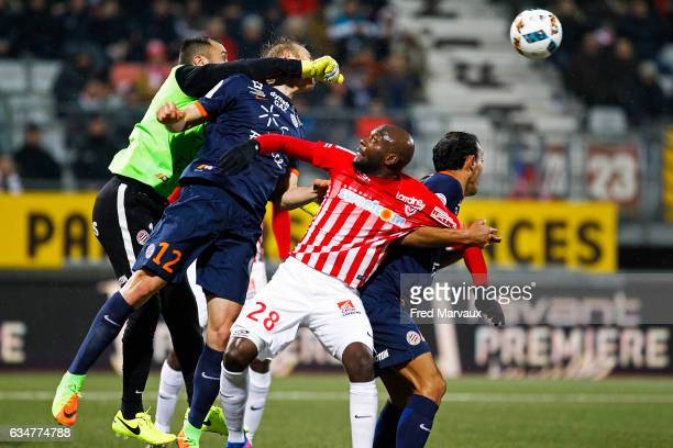 Lukas Pokorny of Montpellier and Julien Cetout of Nancy during the Ligue 1 match between As Nancy Lorraine and Montpellier Herault at Stade Marcel...