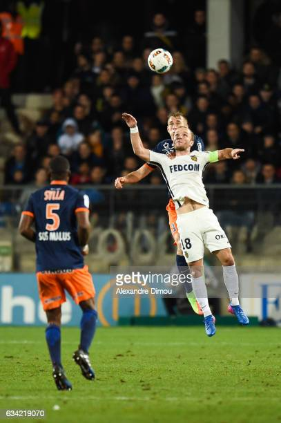 Lukas Pokorny of Montpellier and Valere Germain of Monaco during the French Ligue 1 match between Montpellier and Monaco at Stade de la Mosson on...