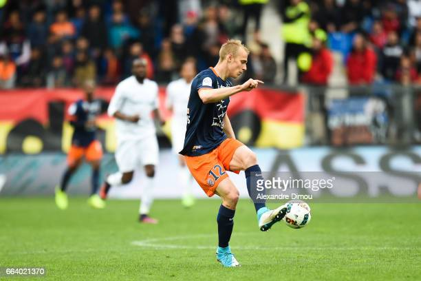 Lukas Pokorny of Montpellier during the French Ligue 1 match between Montpellier and Toulouse at Stade de la Mosson on April 2 2017 in Montpellier...