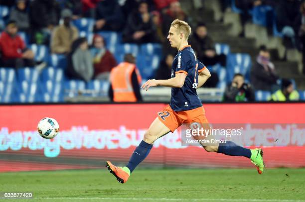 Lukas Pokorny of Montpellier during the Ligue 1 match between Montpellier Herault and SC Bastia at Stade de la Mosson on February 4 2017 in...