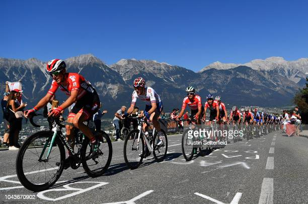 Lukas Postlberger of Austria / Connor Swift of Great Britain / during the Men Elite Road Race a 2585km race from Kufstein to Innsbruck 582m at the...