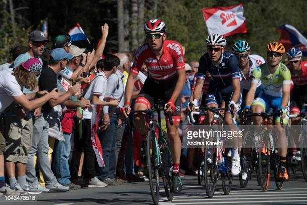 Lukas Postlberger of Austria in lead of a group at the second lap with fans during the Men Elite Road Race of UCI 2018 Road World Championships on...