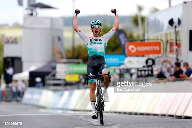 Lukas Pöstlberger of Austria and Team Bora - Hansgrohe stage winner celebrates at arrival during the 73rd Critérium du Dauphiné 2021, Stage 2 a...