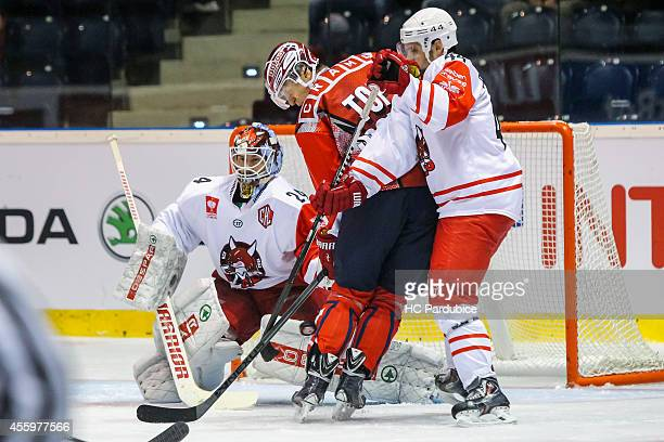 Lukas Radil attackes the net during the Champions Hockey League group stage game between HC Pardubice and HC Bolzano on September 23, 2014 in...