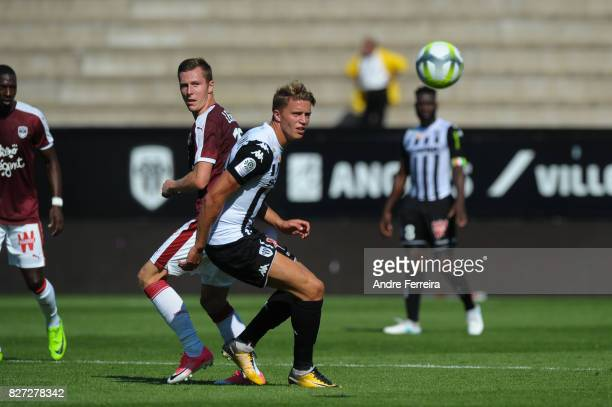Lukas Reiff Lerager of Bordeaux and Baptiste Guillaume of Angers during the Ligue 1 match between Angers SCO and FC Girondins de Bordeaux at Stade...