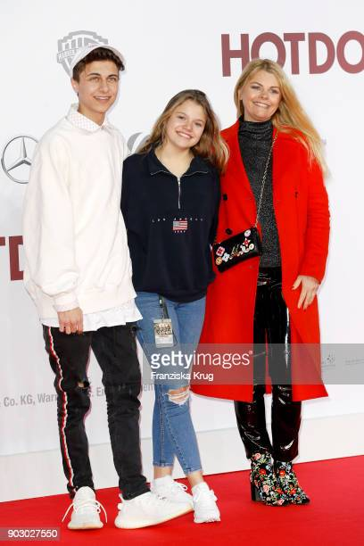 Lukas Rieger and Faye Montana and her mother AnneSophie Briest attend the 'Hot Dog' Premiere at CineStar on January 9 2018 in Berlin Germany