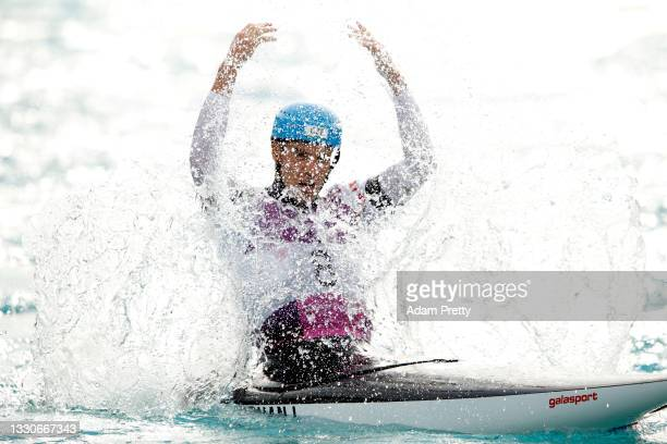 Lukas Rohan of Team Czech Republic reacts following his run in the Men's Canoe Slalom Final on day three of the Tokyo 2020 Olympic Games at Kasai...