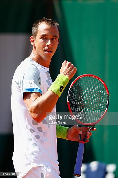 Lukas Rosol of Czech Republic celebrates a point during his Men's Singles match against Elias Ymer of Sweden on day one of the 2015 French Open at...