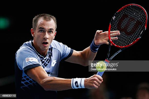 Lukas Rosol of Czech Republic in action against Rafael Nadal of Spain during Day 3 of the BNP Paribas Masters held at AccorHotels Arena on November 4...