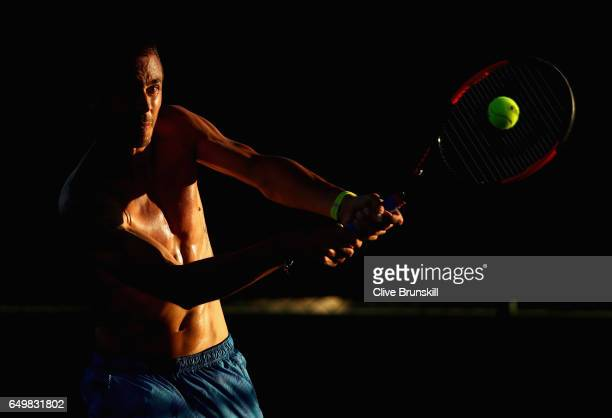 Lukas Rosol of Czech Republic in action during a practice session on day three of the BNP Paribas Open at Indian Wells Tennis Garden on March 8 2017...