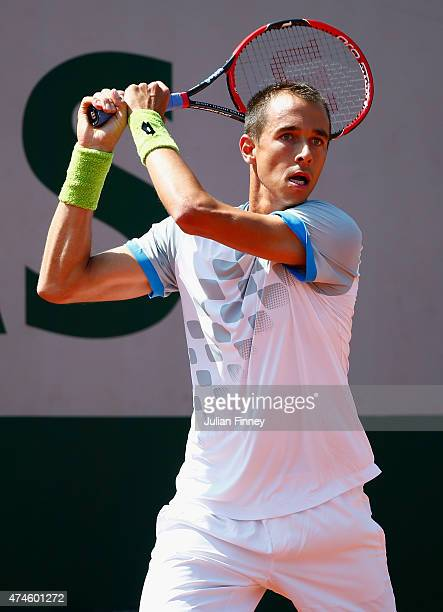 Lukas Rosol of Czech Republic in action during his Men's Singles match against Elias Ymer of Sweden on day one of the 2015 French Open at Roland...