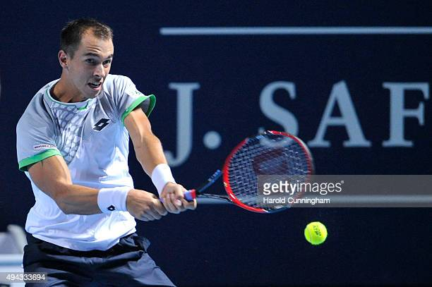 Lukas Rosol of Czech Republic in action during the Swiss Indoors ATP 500 tennis tournament opening match against Rafael Nadal of Spain at St...