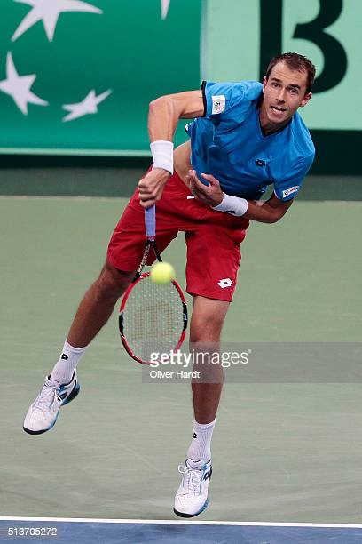 Lukas Rosol of Czech Republic in action in his match against Philipp Kohlschreiber of Germany during Day 1 of the Davis Cup World Group first round...