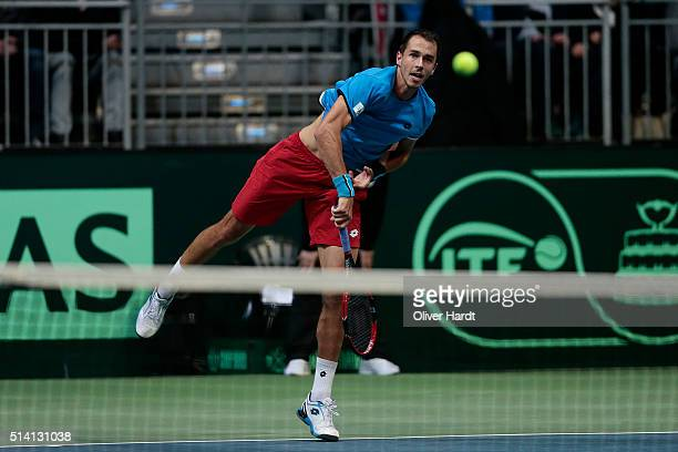 Lukas Rosol of Czech Republic in action in his match against Alexander Zverev of Germany during Day 3 of the Davis Cup World Group first round...