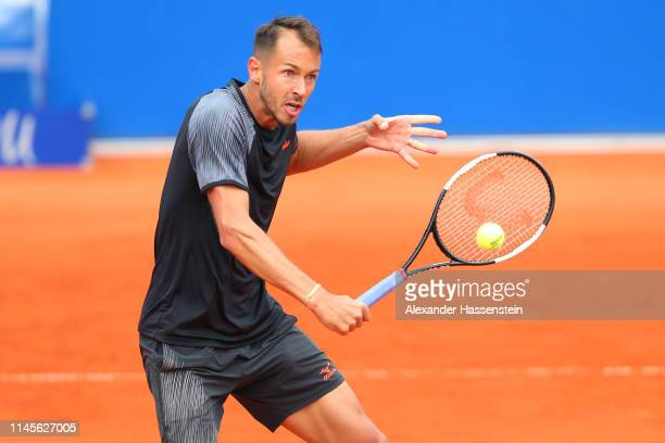 Lukas Rosol of Czech Republic plays a back hand during his quaterfinal qualification match against Yannick Maden of Germany on day 2 of the BMW Open...