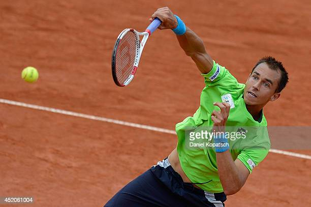 Lukas Rosol of Czech Republic returns a ball during his semifinal match against Mikhail Youzhny of Russia during day six of MercedesCup at TC...
