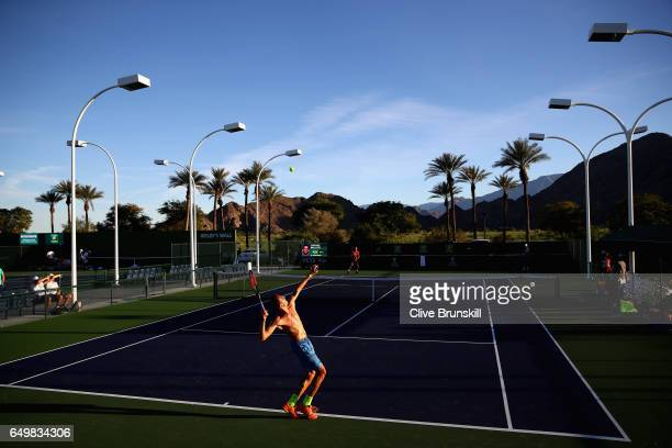 Lukas Rosol of Czech Republic serves during a practice session on day three of the BNP Paribas Open at Indian Wells Tennis Garden on March 8 2017 in...