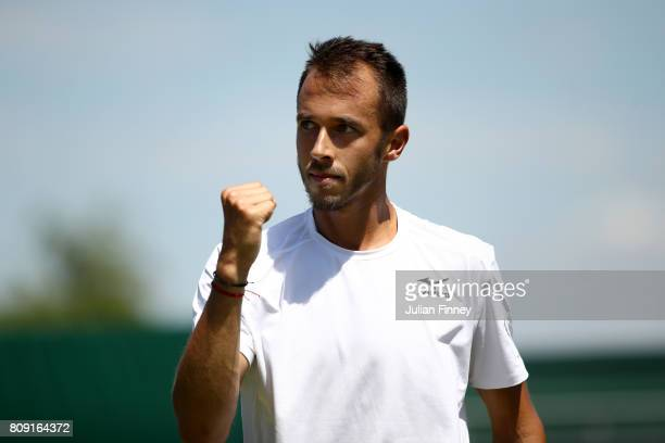 Lukas Rosol of the Czech Republic celebrates during the Gentlemen's Singles second round match against Gilles Muller of Luxembourg on day three of...