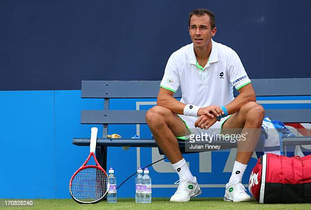 Lukas Rosol of the Czech Republic looks on during his Men's Singles first round match against Samuel Groth of Australia on day two of the AEGON...