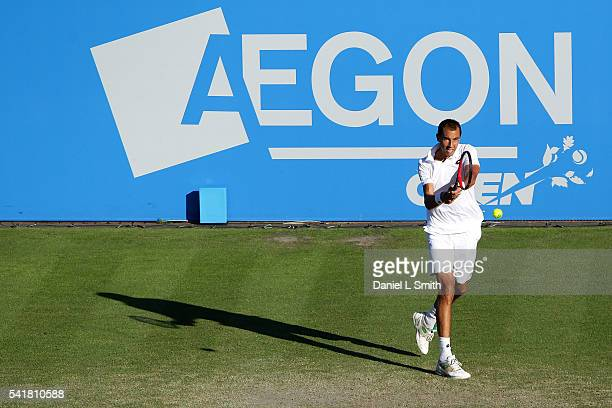 Lukas Rosol of the Czech Republic plays a backhand during his men's singles match against Kyle Edmund of Great Britain during day one of the ATP...