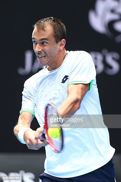 Lukas Rosol of the Czech Republic plays a backhand in his third round match against Stan Wawrinka of Switzerland during day six of the 2016...