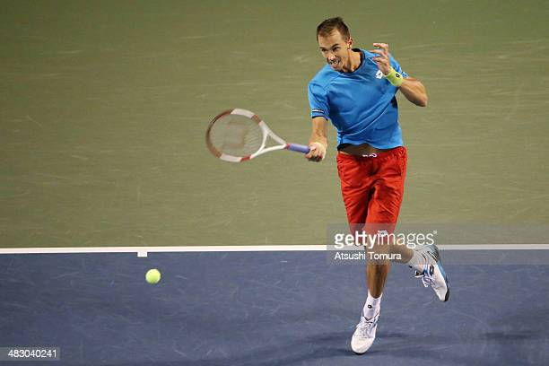 Lukas Rosol of the Czech Republic plays a forehand during his match against Yasutaka Uchiyama of Japan during day three of the Davis Cup World Group...