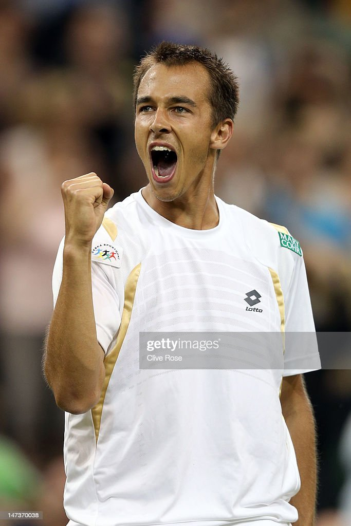 Lukas Rosol of the Czech Republic reacts after winning his Gentlemen's Singles second round match against Rafael Nadal of Spain on day four of the Wimbledon Lawn Tennis Championships at the All England Lawn Tennis and Croquet Club on June 28, 2012 in London, England.