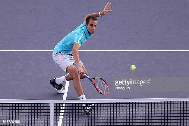 Lukas Rosol of the Czech Republic returns a shot during the match against Viktor Troicki of Serbia on Day 2 of the ATP Shanghai Rolex Masters 2016 at...