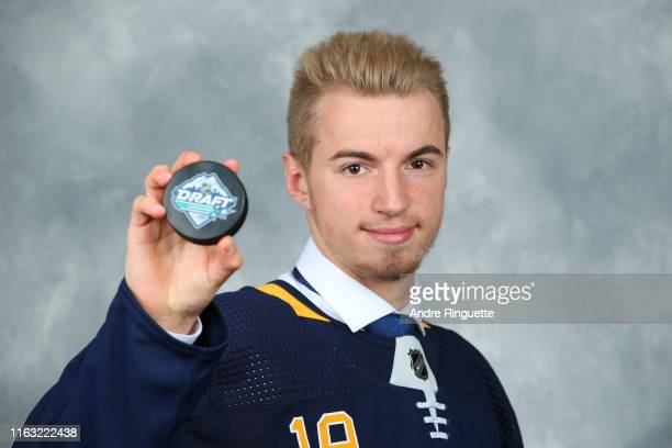 Lukas Rousek 160th overall pick of the Buffalo Sabres poses for a portrait during Rounds 27 of the 2019 NHL Draft at Rogers Arena on June 22 2019 in...