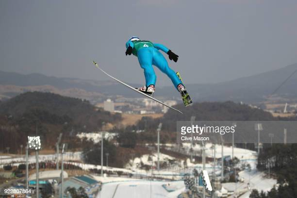 Lukas Runggaldier of Italy competes during the Nordic Combined Team Gundersen LH/4x5km Ski Jumping Trial Round on day thirteen of the PyeongChang...